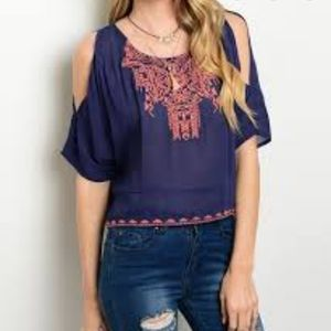 Francesca's Collections navy blouse size medium